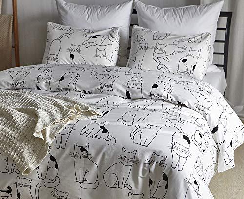 Luofanfei Bettwäsche Katze 135x200 KinderbettwäscheTiere Weiß Schwarz Muster Baumwolle 2 Teilig Bettbezug für Mädchen Jungen Kinder Baby,NC,135
