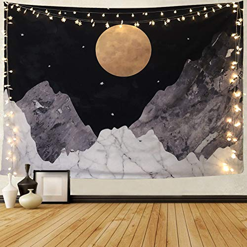 Joddge Trippy Tapestry Wall Hangings Hippie Tapestry Moon Tapestry Boho Landscape Tapestry for Bedroom Living Room Decor Sofa Cover(80 x 68 inches)