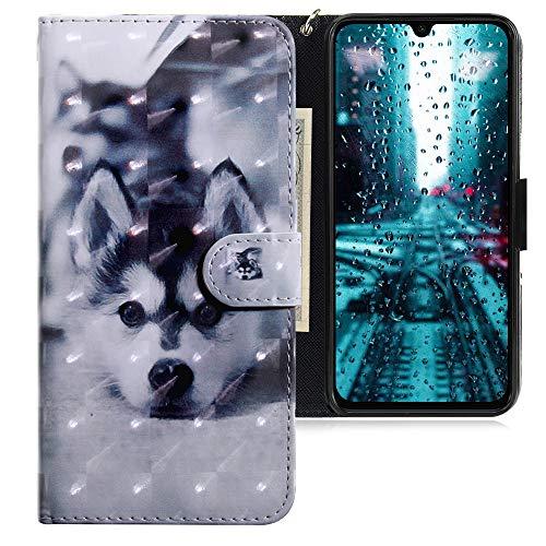 CLM-Tech Hülle kompatibel mit Xiaomi Mi 9 SE - Tasche aus Kunstleder - Klapphülle mit Ständer & Kartenfächern, H& schwarz weiß