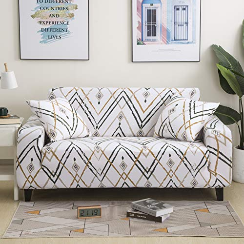 Stretch Sofa Slipcovers Sofa Cover 3 Seater Furniture Protector Printed Sofa Cover 3 Seater Couch Cover with 1 Pillowcases 3Seater Sofa74.8-90.5in(190-230cm)