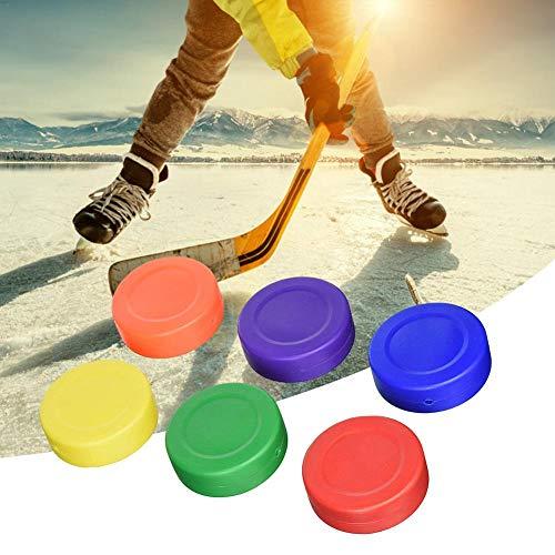 Kitabetty Hockey-Pucks-Set, Leichte Kunststoff-Eishockey-Pucks Hockey-Pucks mit Hohlboden sportstraßenhockey Pucks, für Eishockeyspiele und allgemeines Training 6 zufällige Farben