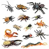 Volnau Insect Toys Figurines 14PCS Bug Toys Figure Pack for Kids Toddlers Christmas Birthday Educational Bee Beetle Spider Plastic Model