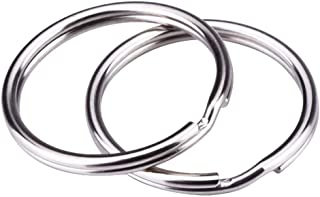 Nickel Plated Split Key Chain Ring Connector Keychain, Silver Steel Round Edged Circular Keychain Ring Clips - Pack of 100-1