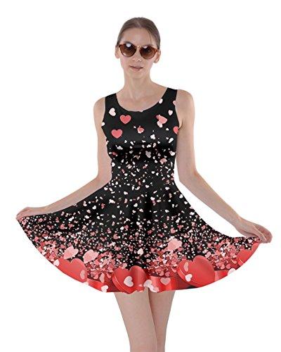 CowCow Womens Falling Love Dark Valentine Love Skater Dress, Dark - S