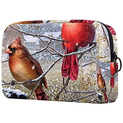 Bolsas de cosméticos para Mujeres, Bolsas de Maquillaje, Estuche de Aseo Espacioso, Accesorios de Viaje, Regalos - Blizzard Buddies Winter Cardinal Bird