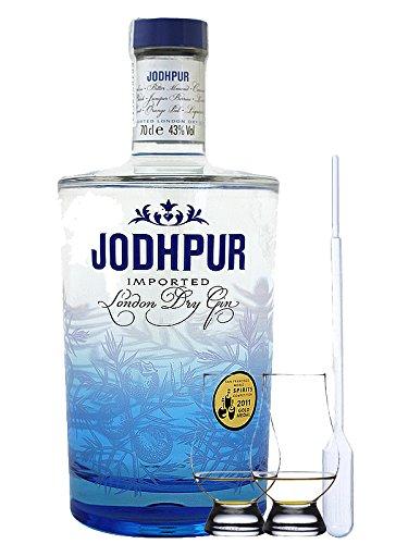 Jodhpur Premium London Dry Gin England 0,7 Liter + 2 Glencairn Gläser und Einwegpipette