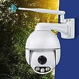 Caméra de sécurité, Zoom 4X 1080P WiFi caméra IP, Vision Nocturne 50M étanche 2 Voies Audio Appareil Photo, for 64G TF Card_White d'utilisation-caméra extérieure lxhff