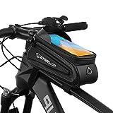 Suruid Borsa per Telaio Bici Borsa per Bici Impermeabile e Parasole Bicicletta Borsa di Stoccaggio di Grande capacità con Foro per Cuffie per Qualsiasi Smartphone Inferiore a 7 Pollici