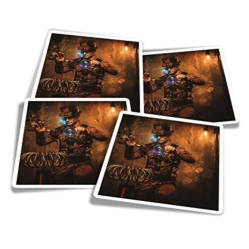 Adesivi in vinile (set da 4) 10 cm – Steampunk Mago Magico Fun Decalcomanie per computer portatili, tablet, bagagli, album di scarti e frigoriferi #14534