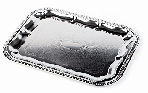 APS 392 Metall PartyTablett mit Rollrand und dekorierten Oberfläche, 41 x 31 cm