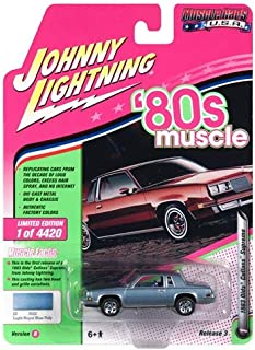 1983 Oldsmobile Cutlass Hurst Light Royal Blue Poly 80's Muscle Limited Edition to 4,420 Pieces Worldwide 1/64 Diecast Model Car by Johnny Lightning JLMC014/ JLSP025 B