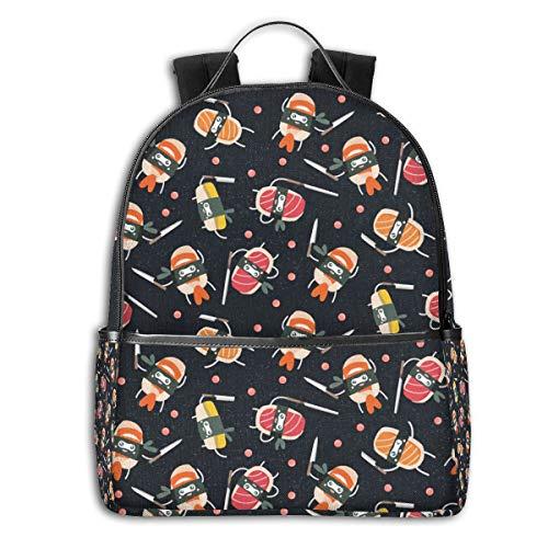 Sushi Knife Cute Japanese Best BlackSide Themed Casual Shoulders Backpack Travel Mini Bookbag Book Back School Bag for Girls Boy Women Men merchandise