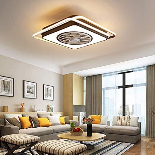 Ventilador de techo con iluminación LED, 23 pulgadas, 45 W, moderno, regulable, con mando a distancia, 3 velocidades, motor silencioso