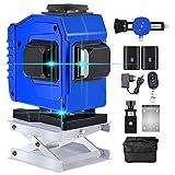 Kreuzlinienlaser 25m, 3D 12 Linien Grün Strahl Laser Wasserwaage, 3x360 Grad Kreuzlinienlaser Selbstnivellierend, Linienlaser Enthält 2 * 5800mAh Lithium Batterien