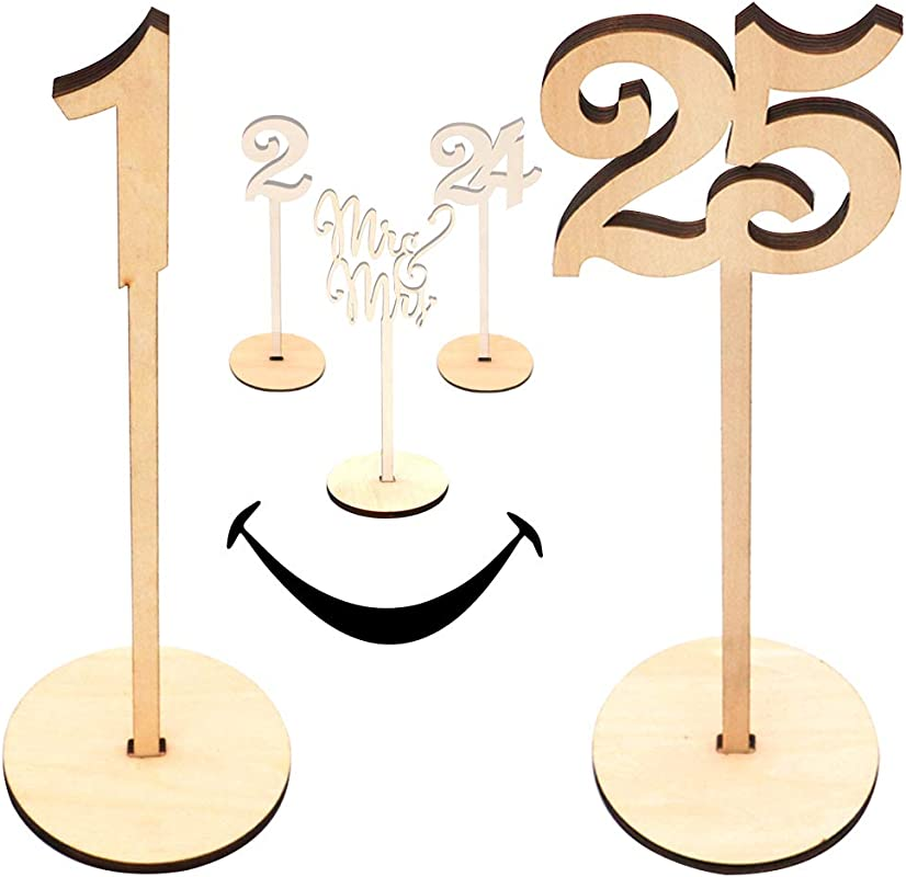 Wooden Wedding Table Numbers 1 25 Pack Extra Large Commercial Grade Thick Heavy Duty Natural Wood With Centerpiece Cake Topper Perfect For Receptions Banquet Catering Caf S Restaurant
