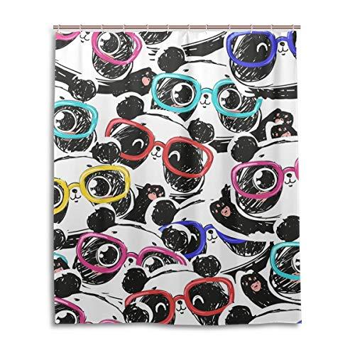 JSTEL Dekorativer Duschvorhang Panda mit Brillen 100prozent Polyester Duschvorhang 60 x 72 Zoll für Haus, Bad, Duschvorhänge Deko