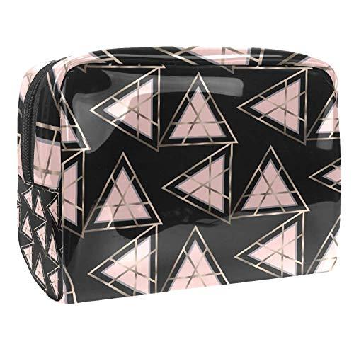 Trousse de toilette multifonction pour femme - Triangle géométrique rose ligne dorée
