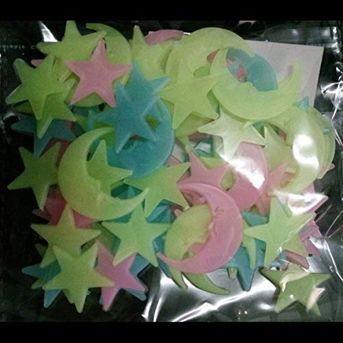 BAYUE 100 stuks kindercamera fluorescent glow in The Dark Star Glow muurstickers sterren licht glow stickers kleuren