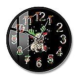 Fryymq (12 Pulgadas con LED) con Marco, impresión acrílica, Adorno navideño, Reloj de Pared, Ciervo, Reloj de Pared, asta, decoración navideña, Regalo para el dueño del Perro