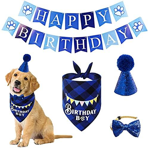 Dog Birthday Party Supplies, Dog Bandana Boy Girl Puppy Birthday Hat Scarf Bow Tie Collar with Happy Birthday Banner Flag for Pet Dog Puppy Cat (Blue)