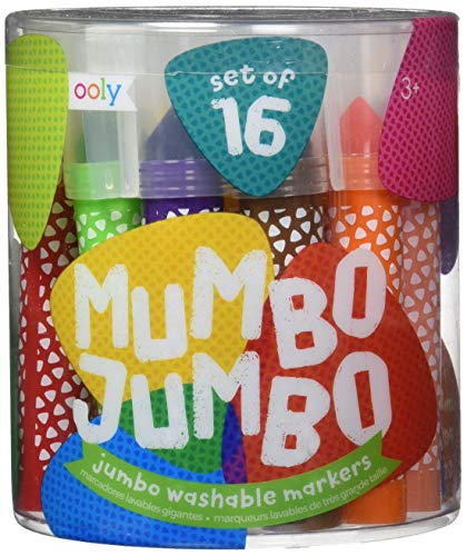Ooly Mumbo Jumbo Chunky Markers With Case - Washable Ink - Triangle Tip - Set of 16 - Ages 3+ (130-045)