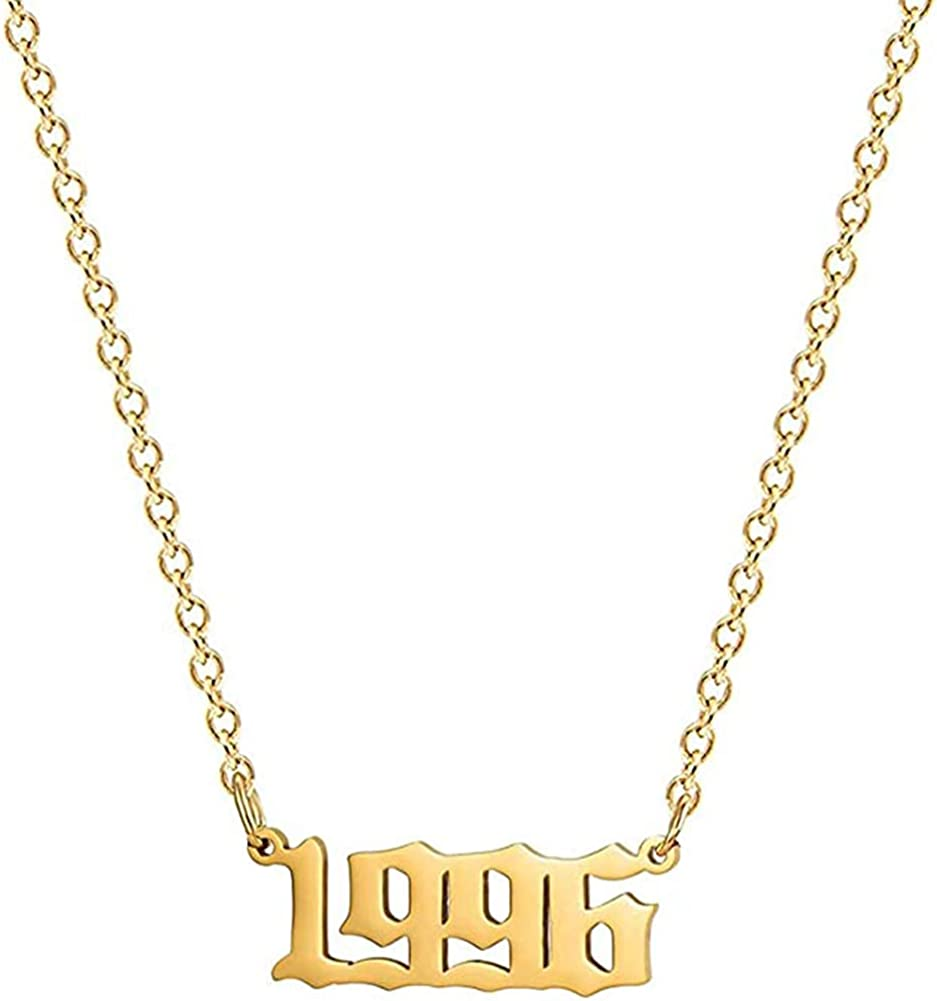 EXGOX Baltimore Mall Birth Year Max 65% OFF Necklace 1990-2010 Stainless Steel Gold Silver
