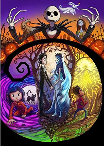 MOL diamant-schilderij om zelf te maken als cadeau voor Halloween pompoenkop Alles stickers diamant-borduurwerk rond 5d kat zwart heks 45x60cm/18x24in