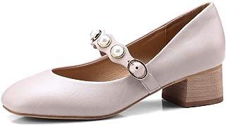 [OceanMap] 靴 レディース 歩きやすい ローヒール パンプス ぺたんこ 脱げない 痛くない ビジュー ストラップ 甲ストラップ かわいい スクエアトゥ パンプス ローヒール 妊婦 歩きやすい靴 幅広 大きいサイズ 26 26.5