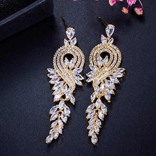 KGDUYH Pendientes blancos de calidad para mujer, con cristales de color dorado, para novia, largos, rojos, verdes, para la decoración (color de metal: chapado en oro blanco)