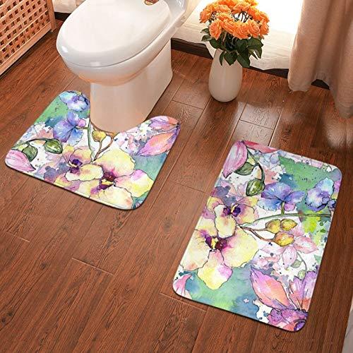John J Littlejohn Non Slip Watercolor Flower Design Bathroom Antiskid Pad Bathmat Waterproof Bath Carpet 2 Pieces Bath Mat + Contour