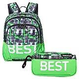"""BESTLIFE Mochila y estuche en un set """"TASKU"""" mochila escolar, para el tiempo libre con compartimento para el portátil hasta 15,6 pulgadas (39,6 cm), verde"""