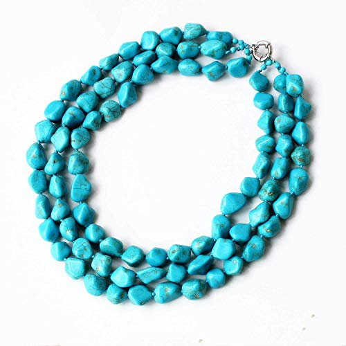 Blue Turquoise Stone 3 Row Multi Beaded Necklace Chunky Necklace Turquoise Necklace Statement Necklace