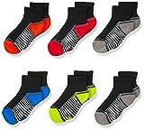 Fruit of the Loom Boys 6-Pair Half Cushion Ankle Socks, Black Assort, Large (Shoe Size: 3-9)
