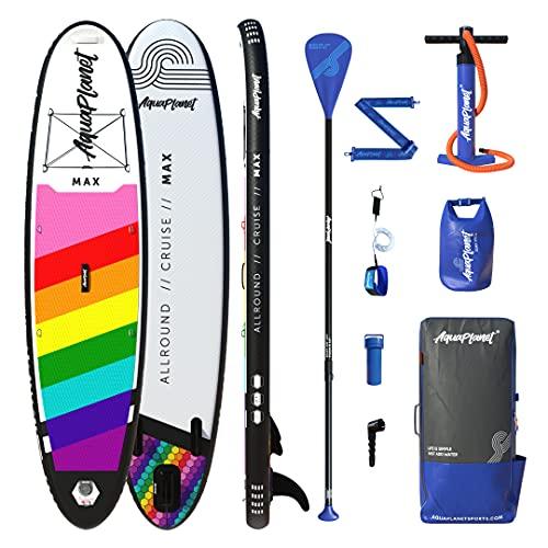Aquaplanet MAX Kit completo para SUP (tabla de 3,2 x 76 cm x 15 cm). con bomba de aire, pala, mochila, correa para la pierna, bolsa de surf impermeable, correa para el hombro y más (Arcoíris)