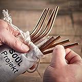 Soul Projekt 8 pcs Pailles réutilisables en INOX avec 2 Brosses de Nottoyage et Sac de Rangement - Paille en métal (6mm), pour Les Cocktails, Boissons Chaudes & Smoothies (Cuivre)