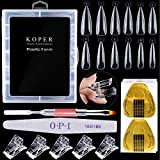 Kalolary 120PCS Clear Nail Dual Forms Tips Sets with 50pcs Nail Art Forms Stickers, 1pcs Dual-Ended Nail Brush, 1pcs Nail File and 5pcs Nail Tips Clips for Acrylic Nails Extension