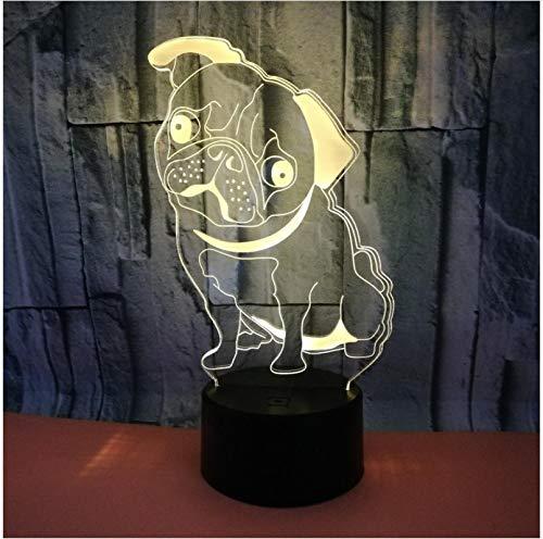 Lámpara de mesa multicolor con forma de perro Shar Pei 3D LED USB para el hogar, iluminación decorativa para el dormitorio, luz nocturna, 7 colores