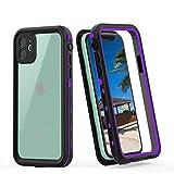 iPhone 11 Waterproof Case, Full Body Rugged 360° Protective Shockproof Dirtproof IP68 Underwater Waterproof Case for iPhone 11 6.1 Inch [2019] (Purple+Clear)