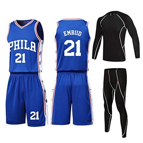 (wit) 21# Embiid Basketbalshirt voor heren en vrouwen, 4-delig pak voor mannen en vrouwen, PET-vezel-ademende sportstof, Real Jersey (XXS-5XL) stijlnaam Small Kleur