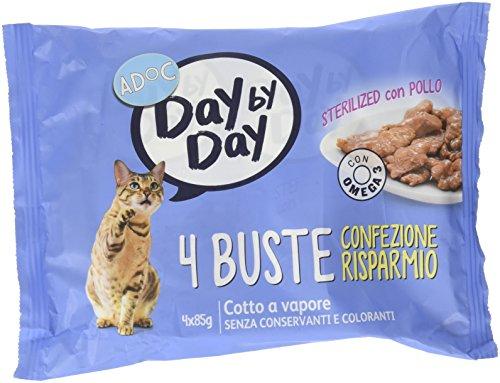 Adoc Day By Day - Alimento Completo per Gatti Sterilizzati con Pollo, 40 bustine da 85gr