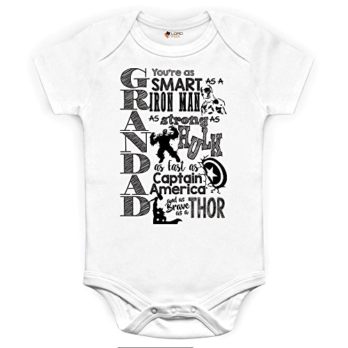 Marvel Comics Grandad abuelo body y gorro para bebé, diseño serigrafiado Onesie Iron Man Hulk Capitán América Thor Talla:0-3 Meses