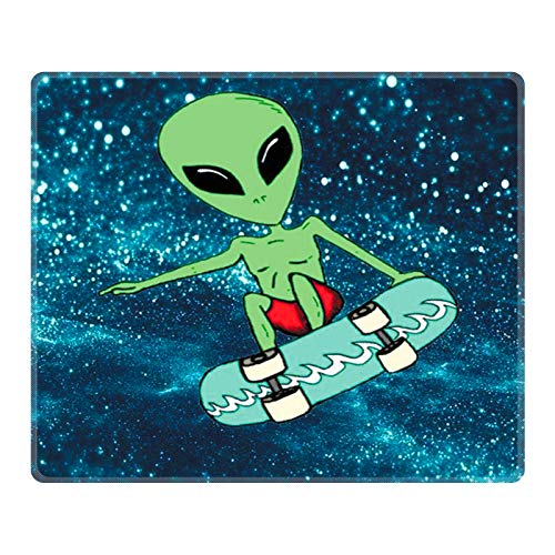 POKABOO Mouse Pad - Cute Mouse Pad Mat for Laptop Cosmos Dancing Non-Slip Rubber Stitched Edges Working Gaming Mouse Pads for Kids/Boys/Girls/Adults(Rectangle 240x200x3mm) (Alien)