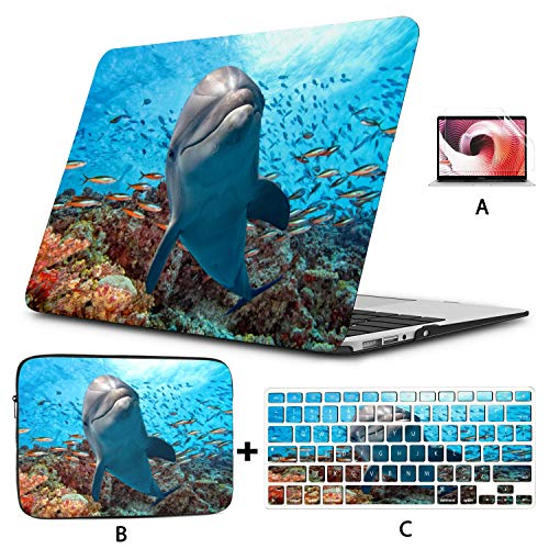 MacBook Pro 15inch Case Dolphin Underwater On School Fish Reef Laptop Hard Cases Hard Shell Mac Air 11'/13' Pro 13'/15'/16' with Notebook Sleeve Bag for MacBook 2008-2020 Version