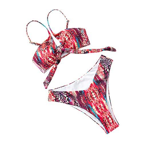 Keeraddl - Bikini de mujer con dos piezas para mujer rojo L
