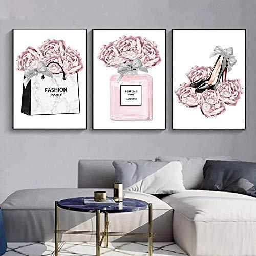 WTYBGDAN Arte de Pared de Moda Póster de Perfume de Rosa Rosa Dama Tacones Altos Imprimir Pinturas Maquillaje Arte Imágenes de Pared para decoración de Sala de Estar | 50x70cmx3Pcs / Sin Marco