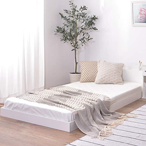 Palette Life パレットライフ ベッド ベッドフレーム マットレス付き セット シングル すのこ コンセント付き 2口 宮付き フロアベッド ローベッド 棚付き (フレーム(ホワイト)+マットレス)