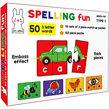 Play Poco Spelling Fun Type 1 - 150 Piece Spelling Puzzle - Learn to Spell 50 Three Letter Words - Beautiful Colorful Pictures (Age 4+)