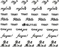 ネイルシール アルファベット 文字 パート2 ブラック/ホワイト/ゴールド/シルバー 選べる44種 (ブラックBP, 28)