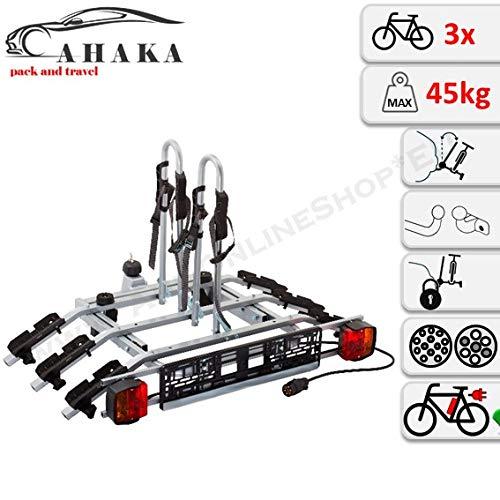 AHAKA Fahrradträger Anhängerkupplung für 3 Fahrräder Heckträger AHK Fahrradheckträger - klappbar mit Schnellkupplung