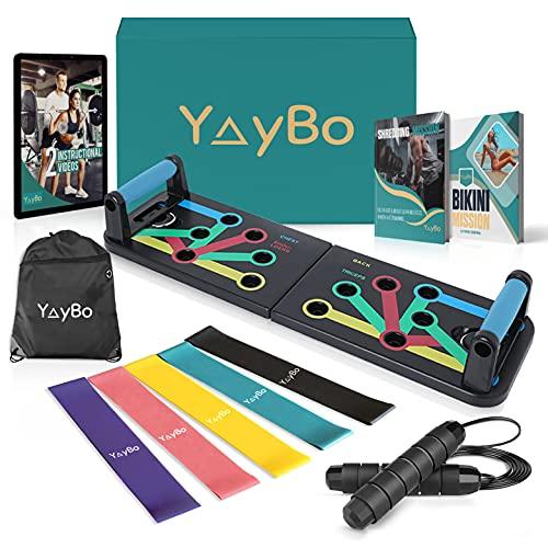 YayBox - Kit de culturismo y fitness 9 en 1 Tabla de flexiones + Cuerda de saltar + 5 bandas de resistencia + Bolsa de transporte - Equipo completo de fitness para hacer ejercicio en casa